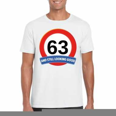63 jaar verkeersbord t shirt wit heren