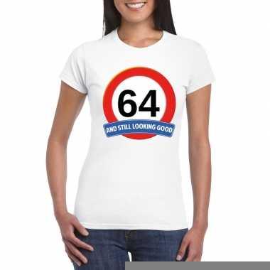 64 jaar verkeersbord t shirt wit dames