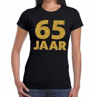 65 jaar fun t shirt gouden tekst zwart dames
