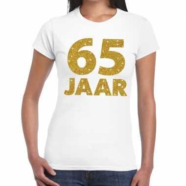 65e verjaardag cadeau t shirt wit goud dames