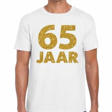 65e verjaardag cadeau t shirt wit goud heren