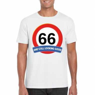 66 jaar verkeersbord t shirt wit heren
