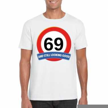 69 jaar verkeersbord t shirt wit heren