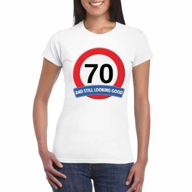 70 jaar verkeersbord t-shirt wit dames
