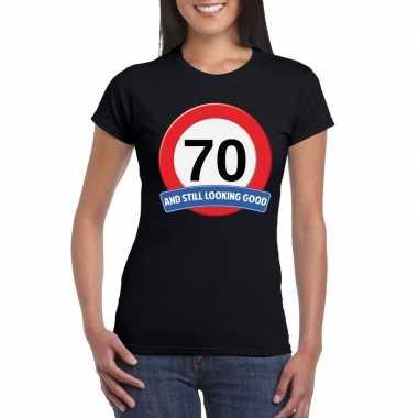 70 jaar verkeersbord t-shirt zwart dames