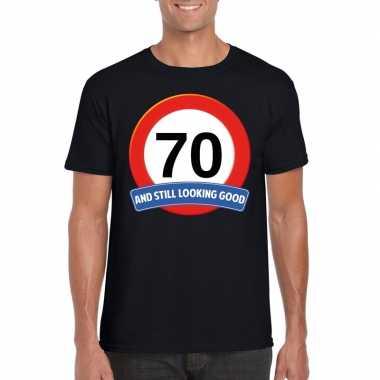 70 jaar verkeersbord t-shirt zwart volwassenen