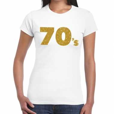 70's goud fun t shirt wit dames