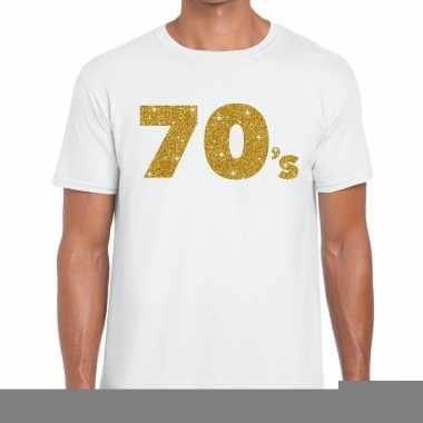 70's goud letters fun t shirt wit heren