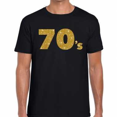 70's gouden letters fun t shirt zwart heren