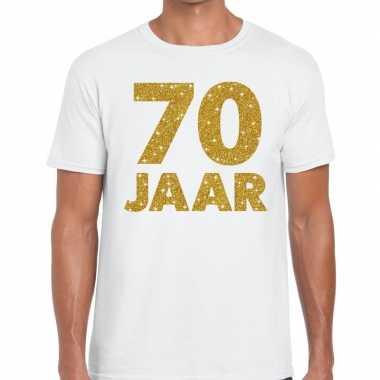 70e verjaardag cadeau t shirt wit goud heren