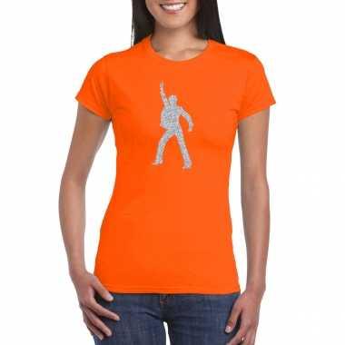 70s / 80s disco t shirt oranje dames