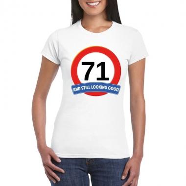 71 jaar verkeersbord t shirt wit dames