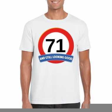 71 jaar verkeersbord t shirt wit heren