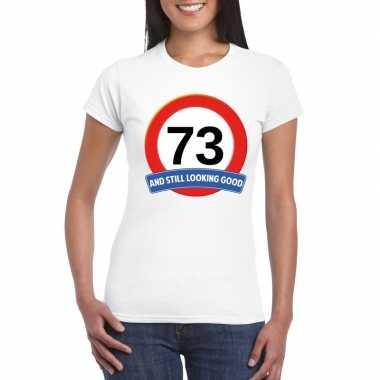 73 jaar verkeersbord t shirt wit dames