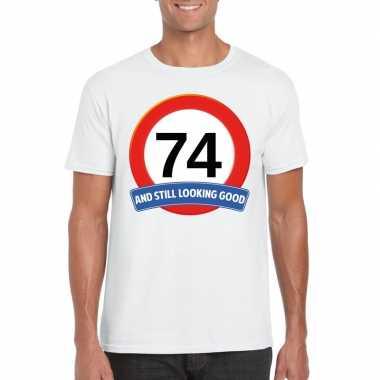 74 jaar verkeersbord t shirt wit heren