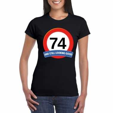 74 jaar verkeersbord t shirt zwart dames