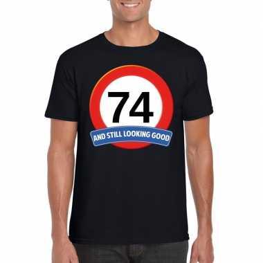 74 jaar verkeersbord t shirt zwart heren