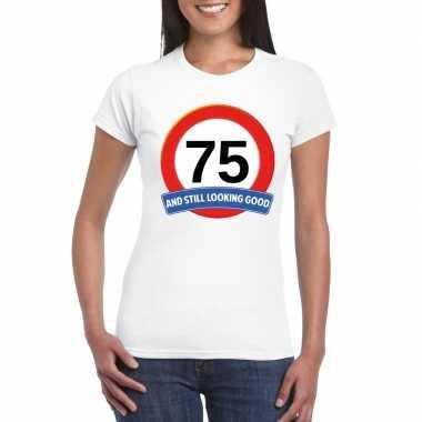 75 jaar verkeersbord t-shirt wit dames