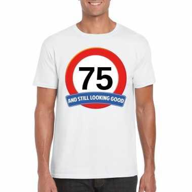 75 jaar verkeersbord t-shirt wit volwassenen