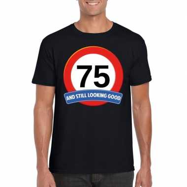 75 jaar verkeersbord t-shirt zwart volwassenen