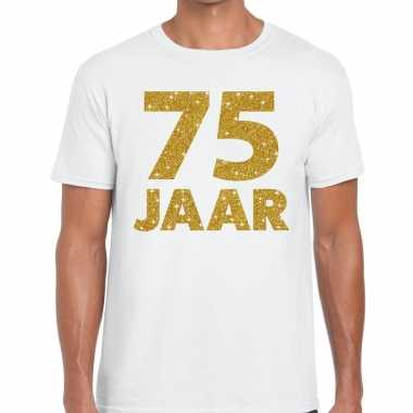 75e verjaardag cadeau t shirt wit goud heren