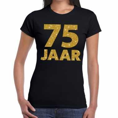 75e verjaardag cadeau t shirt zwart goud dames