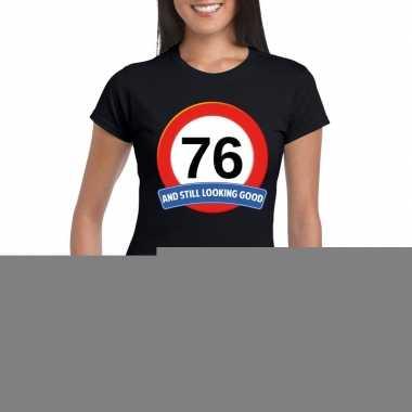 76 jaar verkeersbord t shirt zwart dames