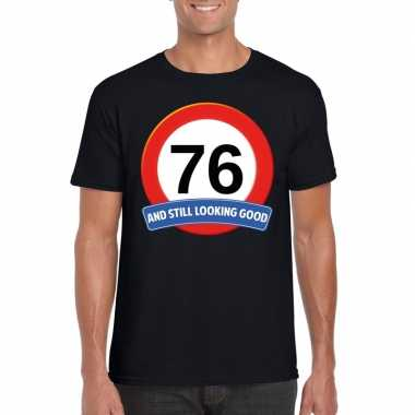 76 jaar verkeersbord t shirt zwart heren