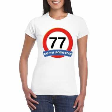 77 jaar verkeersbord t shirt wit dames