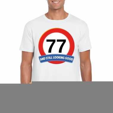 77 jaar verkeersbord t shirt wit heren