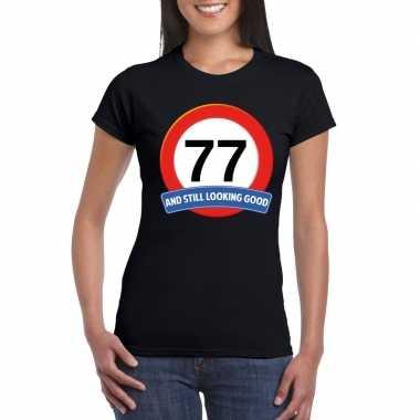 77 jaar verkeersbord t shirt zwart dames