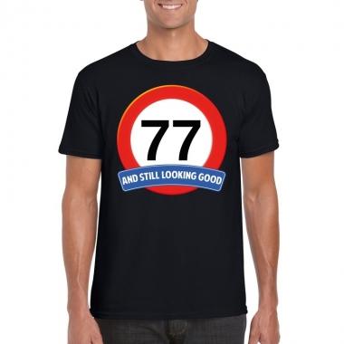 77 jaar verkeersbord t shirt zwart heren