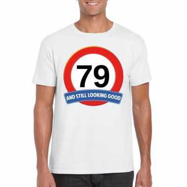 79 jaar verkeersbord t shirt wit heren