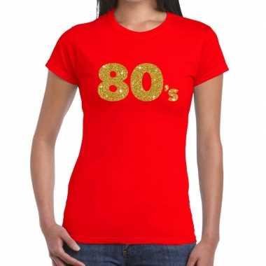 80's goud fun t shirt rood dames