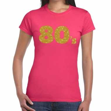 80's goud fun t shirt roze dames