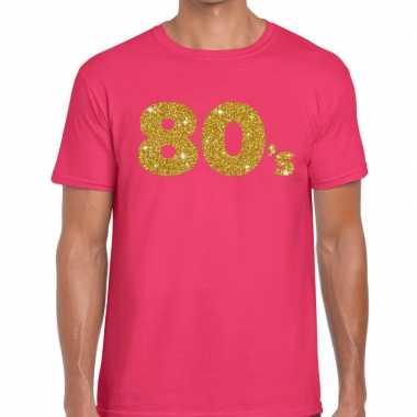 80's goud glitter tekst fun t shirt roze heren