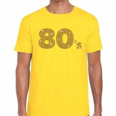 80's goud letters fun t shirt geel heren