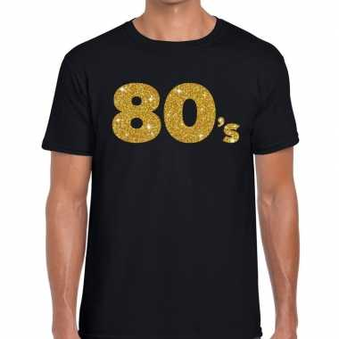 80's gouden letters fun t shirt zwart heren