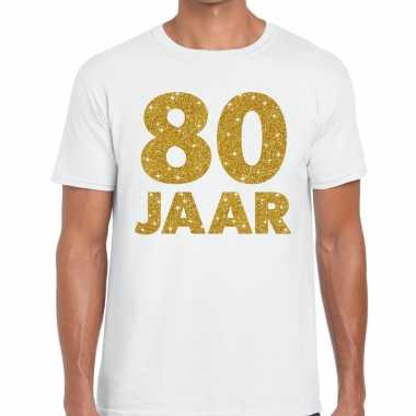 80e verjaardag cadeau t shirt wit goud heren
