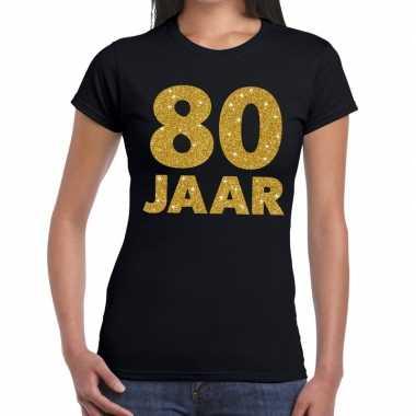 80e verjaardag cadeau t shirt zwart goud dames