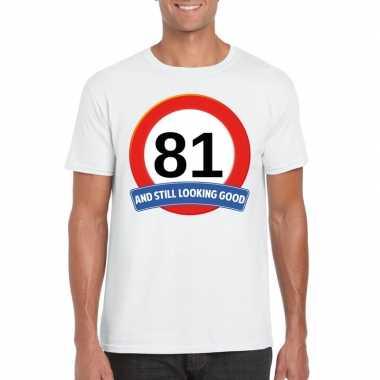 81 jaar verkeersbord t shirt wit heren