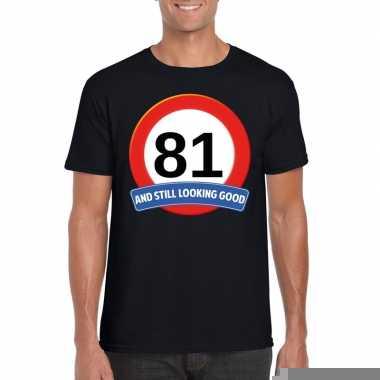81 jaar verkeersbord t shirt zwart heren