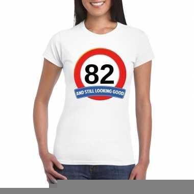 82 jaar verkeersbord t shirt wit dames