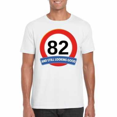 82 jaar verkeersbord t shirt wit heren