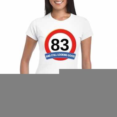 83 jaar verkeersbord t shirt wit dames