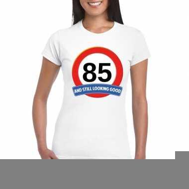 85 jaar verkeersbord t-shirt wit dames