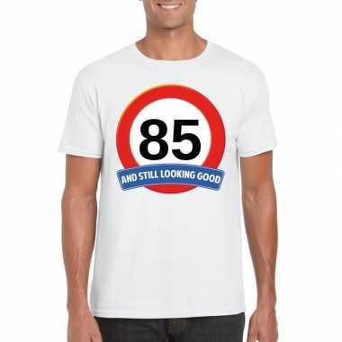85 jaar verkeersbord t-shirt wit volwassenen