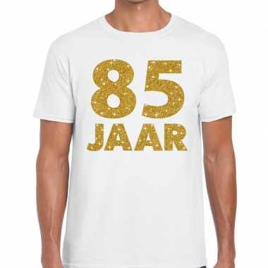 85e verjaardag cadeau t shirt wit goud heren