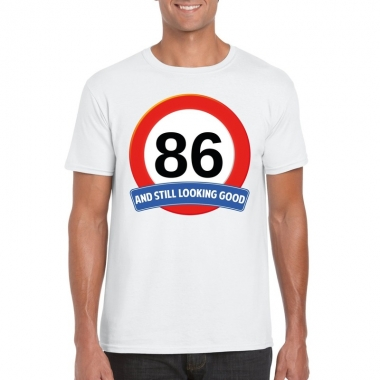 86 jaar verkeersbord t shirt wit heren