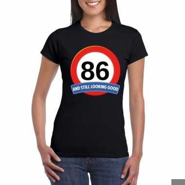 86 jaar verkeersbord t shirt zwart dames